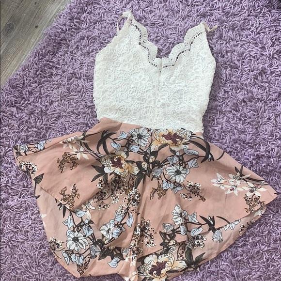 Lace / silk romper
